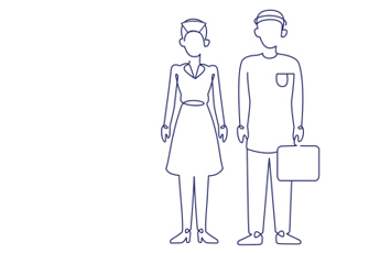 Outline figure of man and woman
